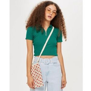 Topshop Green Plain Zip Polo Collar Tee Shirt US 4